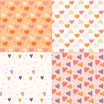 Hand drawn heart pattern collection