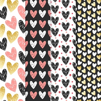 손으로 그린 하트 패턴 컬렉션