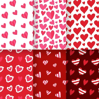 Hand drawn heart pattern pack