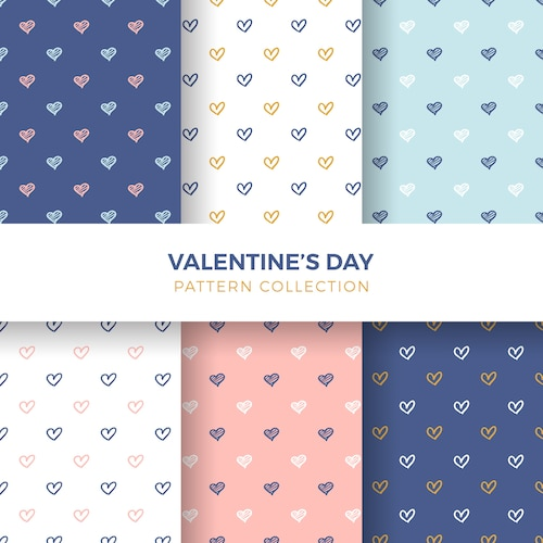 Hand-drawn Heart Seamless Pattern Collection