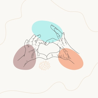 Hand drawn heart shaped using line art style