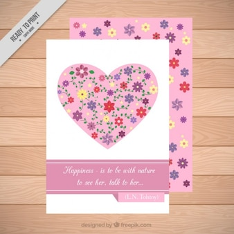 Hand drawn heart with flowers card