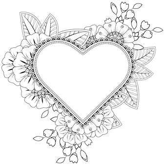 一時的な刺青の花と手描きのハート。エスニックオリエンタル、落書き飾りの装飾。アウトライン手描きイラスト。
