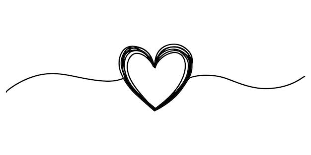 얇은 선 분배기 모양으로 손으로 그린 심장 얽힌 지저분한 라운드 낙서 절연