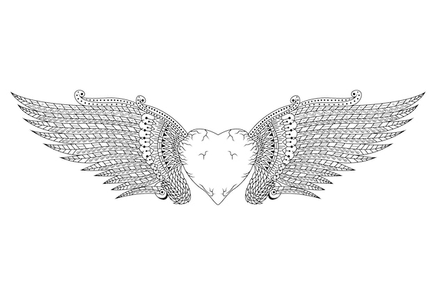 Hand drawn of heart with wings in zentangle style