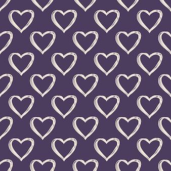 손으로 그린 하트 패턴입니다. 휴일 서식 파일에 대 한 발렌타인 데이 배경입니다. 창의적이고 고급스러운 스타일의 일러스트레이션