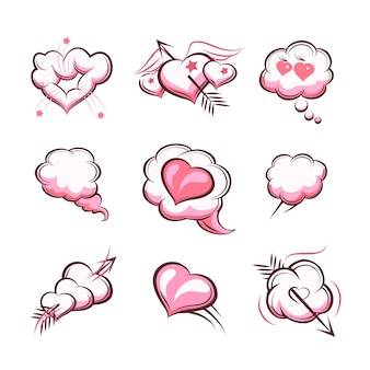Набор рисованной сердца для карт на день святого валентина