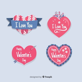Hand drawn hearts valentine badge collection