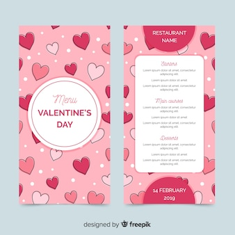 Hand drawn hearts valentine menu