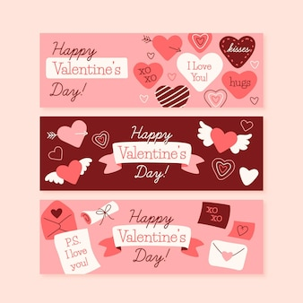 Hand drawn hearts valentine's day banners