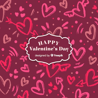 Hand drawn hearts valentine's day lettering background