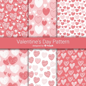 Hand drawn hearts valentine's day pattern collection