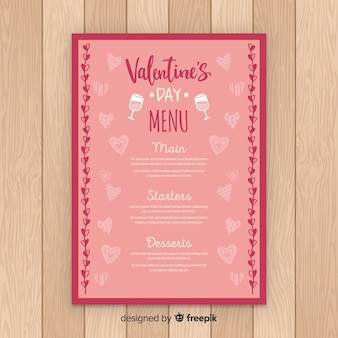 Hand drawn hearts valentine's day template menu