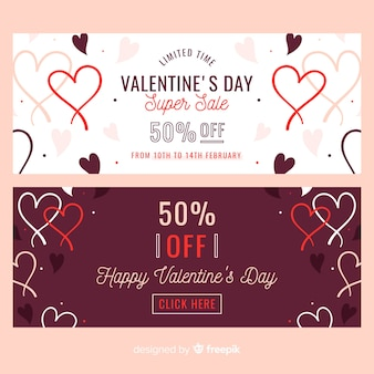 Hand drawn hearts valentine sale banner