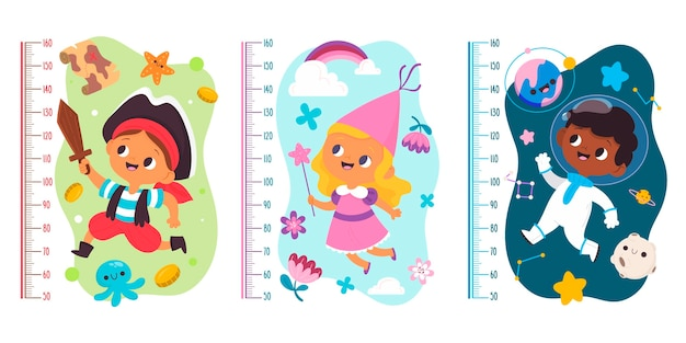 Hand drawn height meter collection