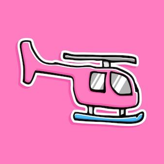 손으로 그린 헬기 만화 디자인