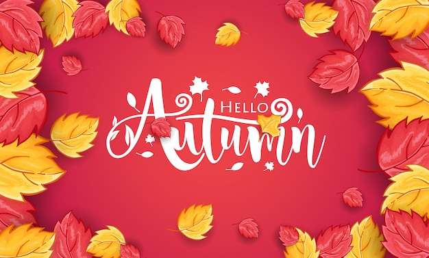 Hand drawn hello autumn background with leaves ornament