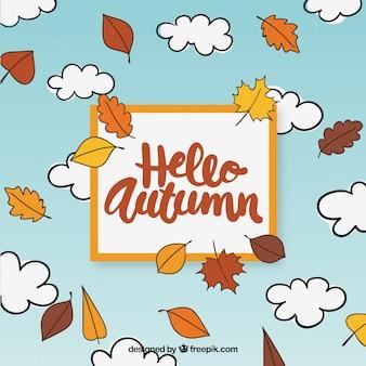 Hand drawn hello autumn background