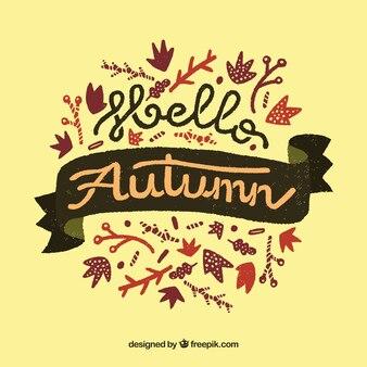 手描きのこんにちは秋の背景
