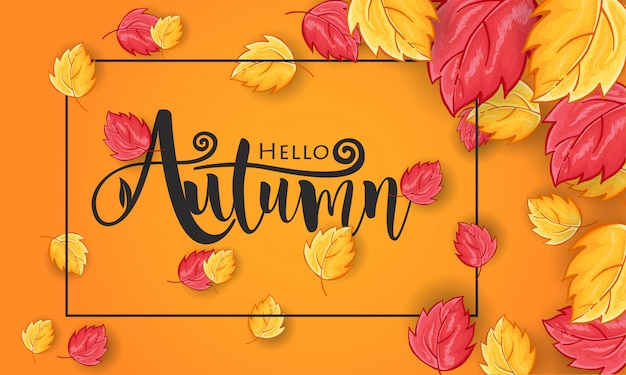 Hand drawn hello autumn greeting background