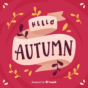Hand drawn hello autumn lettering background