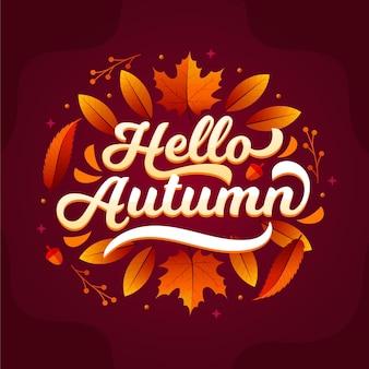 Ciao lettering autunno disegnato a mano