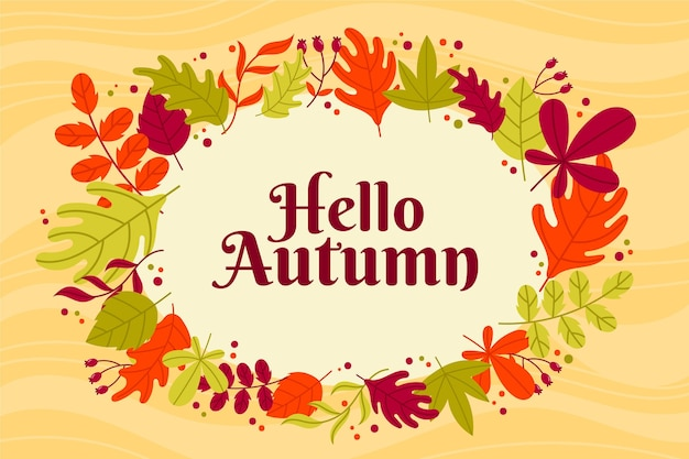 Hand drawn hello autumn wallpaper