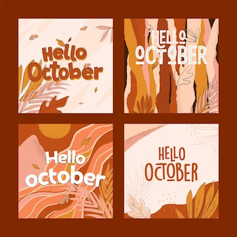 손으로 그린 안녕하세요 10 월 인스 타 그램 게시물