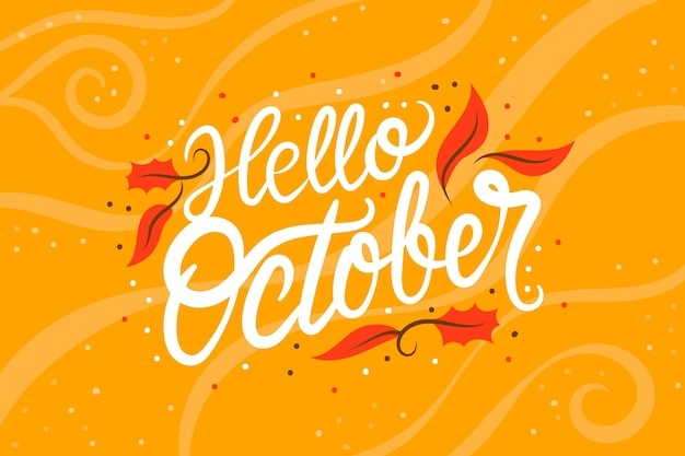 Hand drawn hello october lettering