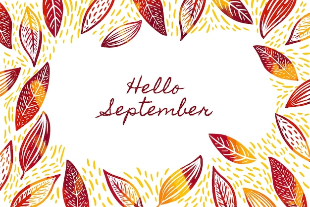 Hand drawn hello september background