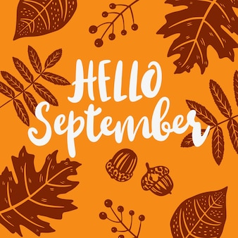 Рисованной привет сентябрь надписи