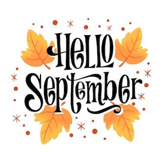 Ciao settembre lettering disegnato a mano