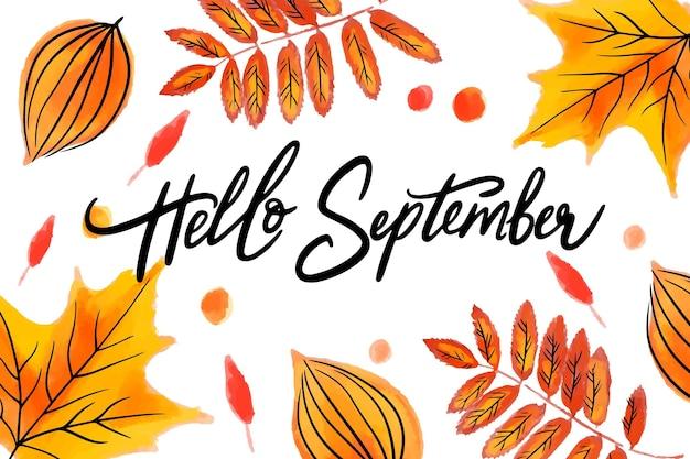Hand drawn hello september lettering
