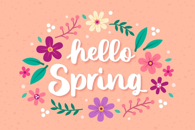 Hand drawn hello spring background