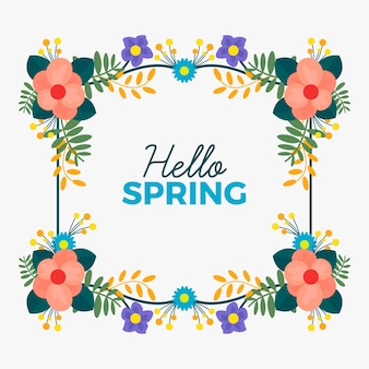 Hand drawn hello spring floral frame