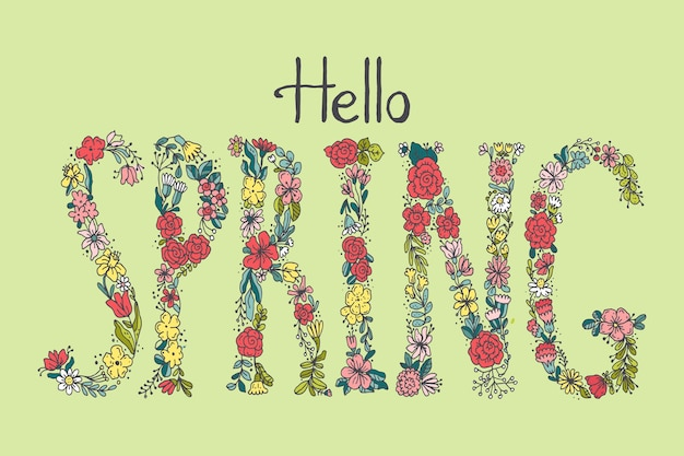 Hand drawn hello spring lettering