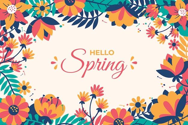 손으로 그린 안녕하세요 봄 벽지