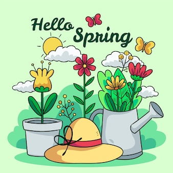 Hand-drawn hello spring