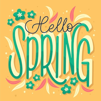 손으로 그린 안녕하세요 봄