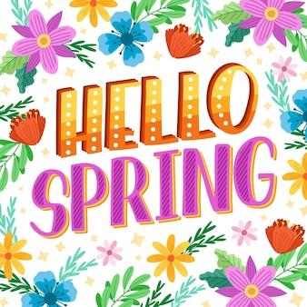 Hand drawn hello spring