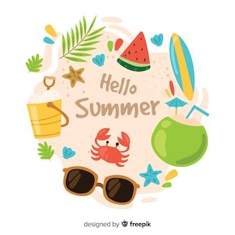손으로 그린 안녕하세요 여름 배경