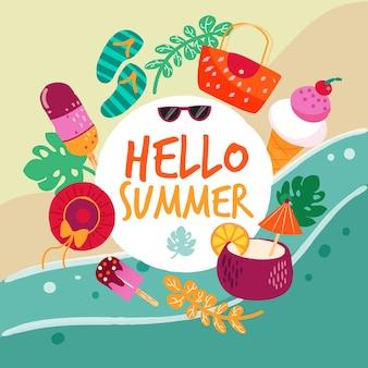 Hand drawn hello summer background
