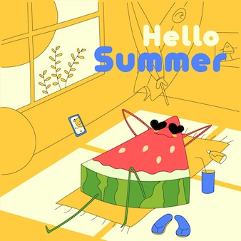 Hand drawn hello summer concept