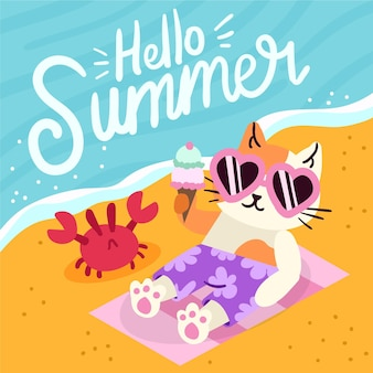 Hand drawn hello summer concept