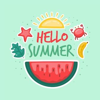 Ciao estate concetto disegnato a mano
