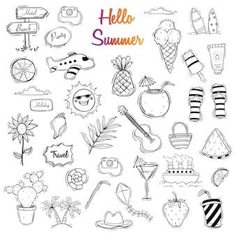 Hand drawn hello summer illustration set