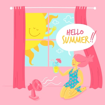 Hand drawn hello summer illustration