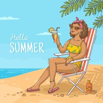 手描きこんにちは夏のイラスト