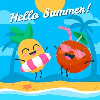 손으로 그린 안녕하세요 여름 그림