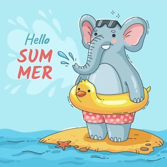 Hand drawn hello summer illustration